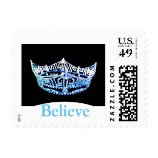 Miss America style Crown Believe Postage Stamps