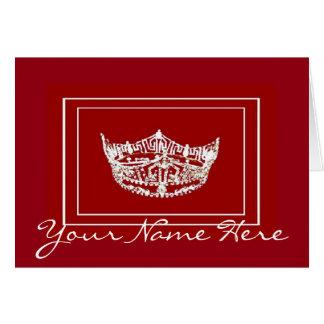 Miss America style Crown Custom Name Note Card
