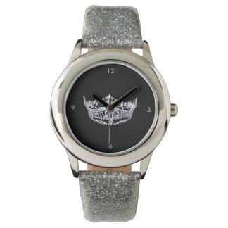 Miss America style Crown Silver Glitter Watch