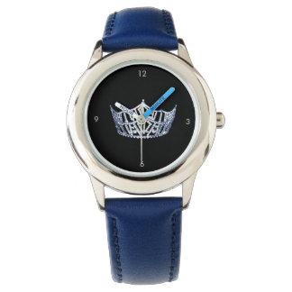 Miss America style Custom Crown Blue Watch
