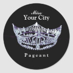 Miss America style Custom Crown Round Sticker