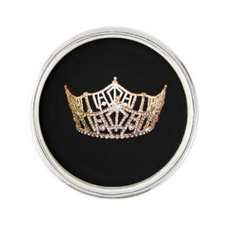 Miss America style Jeweled Crown Lapel Pin
