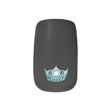 Halloween Themed Miss America style Minx Nails Aqua Crown Minx Nail Wraps