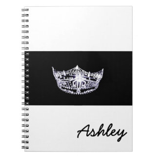 Miss America style Notebook-Crown & Custom Name Spiral Notebook