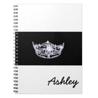 Miss America style Notebook-Crown & Custom Name Spiral Notebook