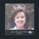 """Miss America style Pageant Crown Autograph Pad<br><div class=""""desc"""">Hey pageant royalty this autograph pad is perfect to use at all your autograph signing appearences. Shown with a black accent strip with a image of a Miss America style gleaming crown. Customize this pad and change the photo to yours and change to your title.</div>"""