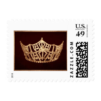 Miss America style Pageant Crown Postal Stamp-Brwn Stamps