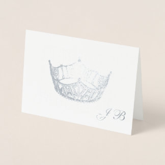 Miss America Style Silver Foil Crown Monogram Card
