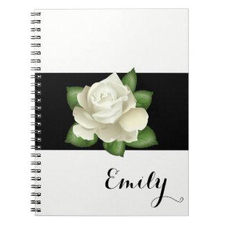 Miss America White Rose Notebook- Custom Name Notebook