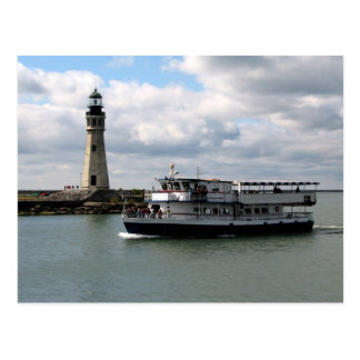 Miss Buffalo & Buffalo Main Lighthouse Postcard