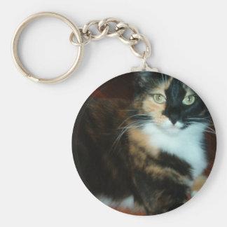 Miss Calico Kitty Basic Round Button Keychain