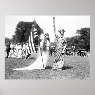 Miss Columbia and Lady Liberty: 1919 Print