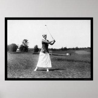 Miss E. Pickhardt Playing Golf 1914 Poster