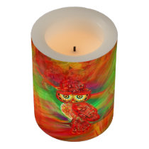 Miss Extravagance Fall Fashion Owl LED Candle