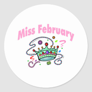Miss February (2) Classic Round Sticker