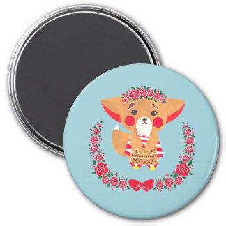 Miss Fennec Fox 3 Inch Round Magnet