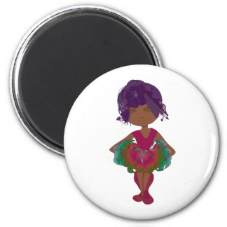 Miss-fit Coco Pink and Green Tutu Ballerina Art 2 Inch Round Magnet