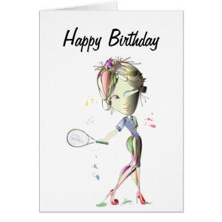 Miss-fit Girl Plays Tennis Birthday Greeting Card