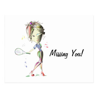 Miss-fit Girl Plays Tennis! Postcard
