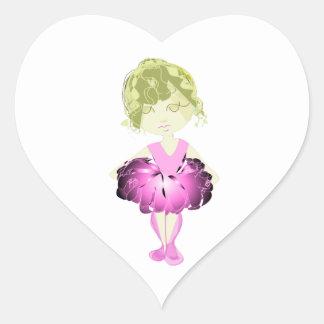 Miss-fit Pink Ballet Dancer Girl Heart Sticker