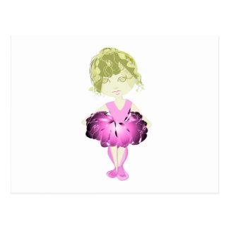 Miss-fit Pink Ballet Dancer Girl Postcard
