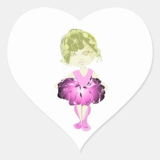 Miss-fit Pink Ballet Girl digital art Heart Sticker