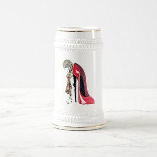 Miss-fit Red Girl loves Stiletto's Digital Art Beer Stein