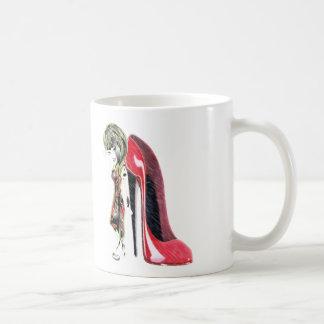 Miss-fit Red Girl loves Stiletto's Digital Art Coffee Mug