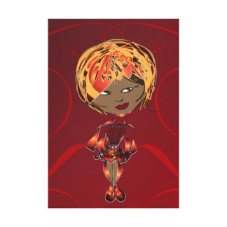 Miss-fit Scarlett Digital Art Girl Wrapped Canvas Gallery Wrapped Canvas