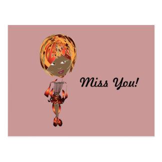 Miss-fit Zena Digital Girl Art Postcard