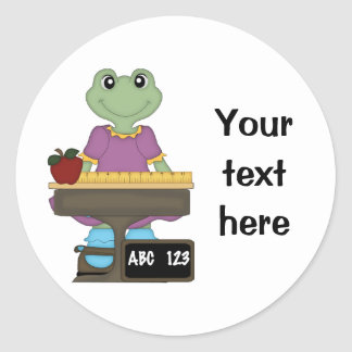 Miss Froggy/Customize your text! Classic Round Sticker