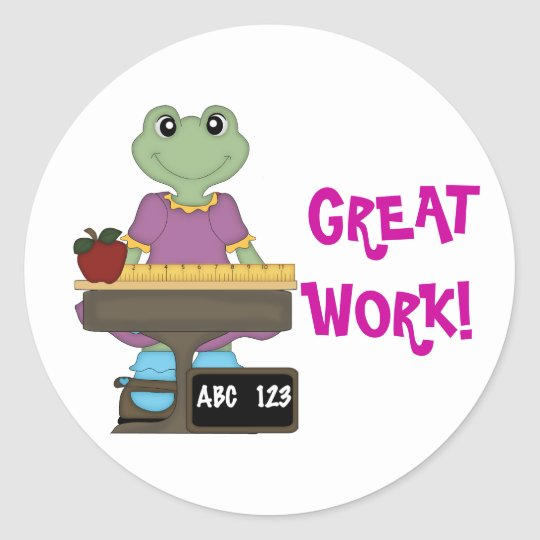 Miss Froggy/Great Work! Classic Round Sticker