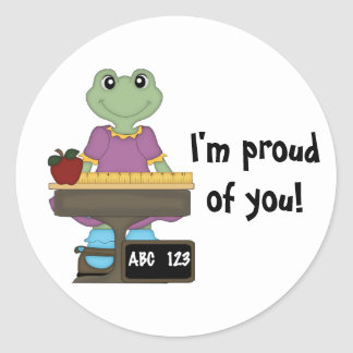 Miss Froggy/I'm proud of you! Classic Round Sticker