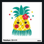 """Miss Hawaiian Pineapple Wall Decal<br><div class=""""desc"""">Miss Hawaiian Pineapple pattern illustration inspired by hawaiian hula dancer costume and accessories while pineapple is identical as tropical fruit. Use bright color choice to show freshness and tropical athmosphere. The illustration is use watercolor painting technique.</div>"""