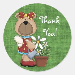 Miss Honey Bear Thank You Sticker Round ...
