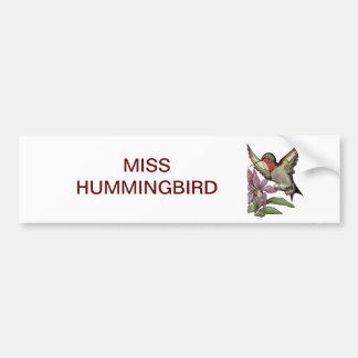 MISS HUMMINGBIRD - Personified Bird Bumper Sticker