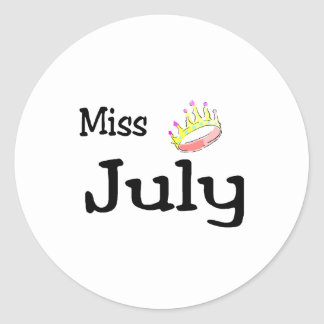 Miss July Classic Round Sticker