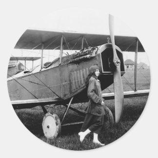 Miss Katherine Stinson and her Curtiss aeroplane Classic Round Sticker