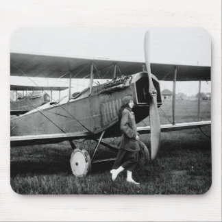 Miss Katherine Stinson and her Curtiss aeroplane Mouse Pad