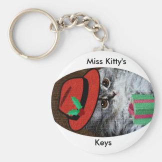 Miss Kitty Basic Round Button Keychain