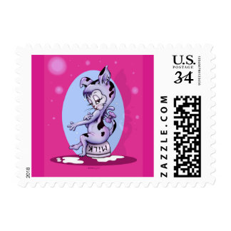 "MISS KITTY CAT POSTAGE STAMP Small, 1.8"" x 1.3"""