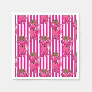 Miss Kitty Pink Glitter Stripes 3AO-PAPER NAPKINS