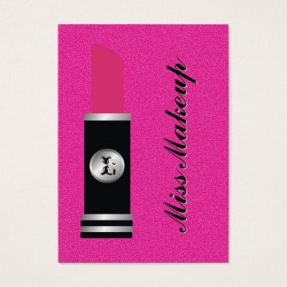 Miss Makeup On Hot Pink Pattern Business Card