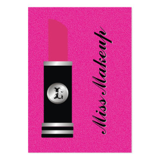Miss Makeup On Hot Pink Pattern Business Card Template