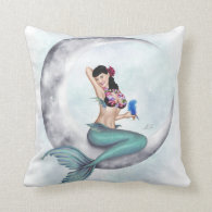 Miss Mandolin Moon - Mermaid Throw Pillow