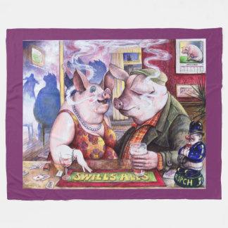 Miss March Pigs in a Pub Fleece Blanket