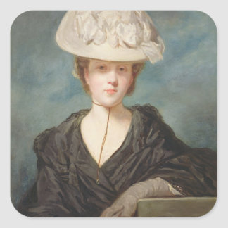 Miss Mary Hickey, 1770 (oil on canvas) Square Sticker