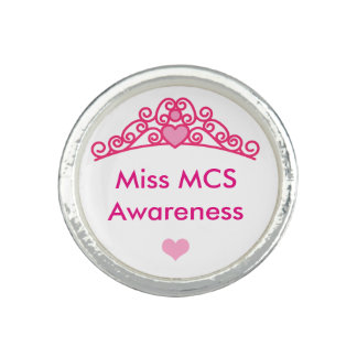 Miss MCS Awareness Silver Round Finger Ring 6 7 8