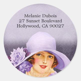 Miss Melanie in Lavender - Address Labels Classic Round Sticker