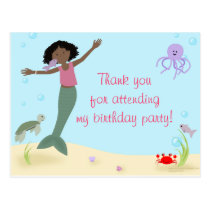 Miss Mermaid Party Thank You Postcard